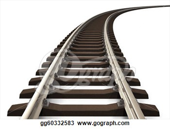 Drawing   Curved Railroad Track  Clipart Drawing Gg60332583   Gograph