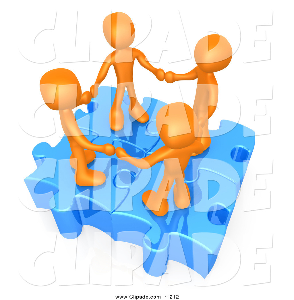 Larger Preview  Clip Art Of A Four 3d Orange People Holding Hands On