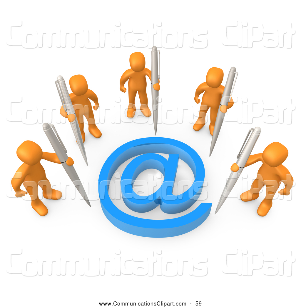 Larger Preview  Communication Clipart Of A Group Of Five Orange People