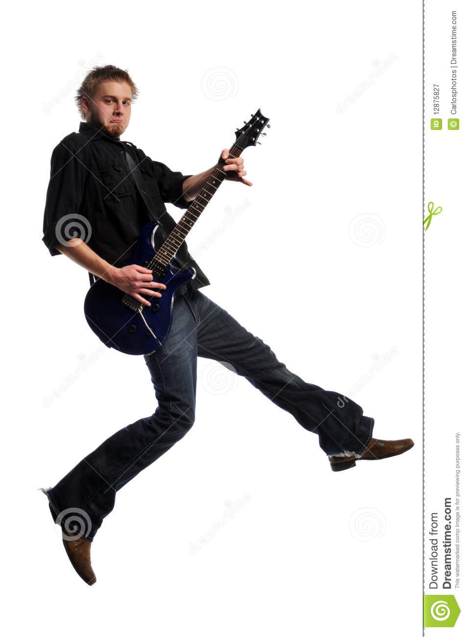 Musician Playing The Guitar And Jumping Isolated On A White Background