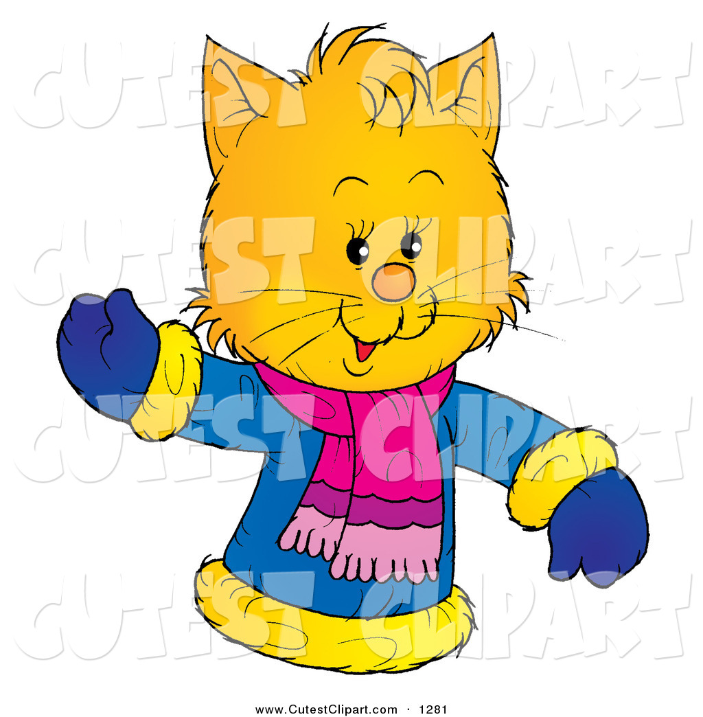 Preview Of A Friendly Yellow Kitty Wearing Winter Coat Clipart