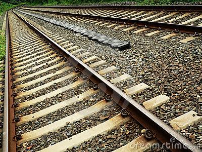 Stock Photos  Train Tracks In Diagonal Perspective