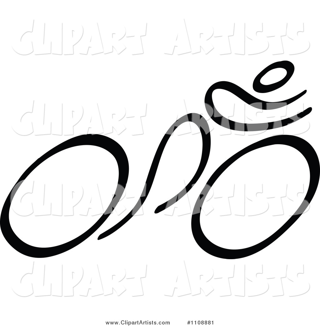 Vector  1108881   Black And White Stick Drawing Of A Cyclist