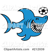 Vector  212039   Blue Shark Playing Soccer