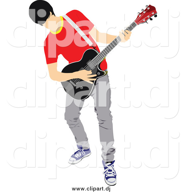 Vector Clipart Of A Musician Man Playing An Electric Guitar By Leonid