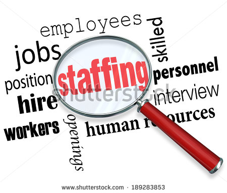 Words Magnifying Glass Employees Hiring Positions   Stock Photo