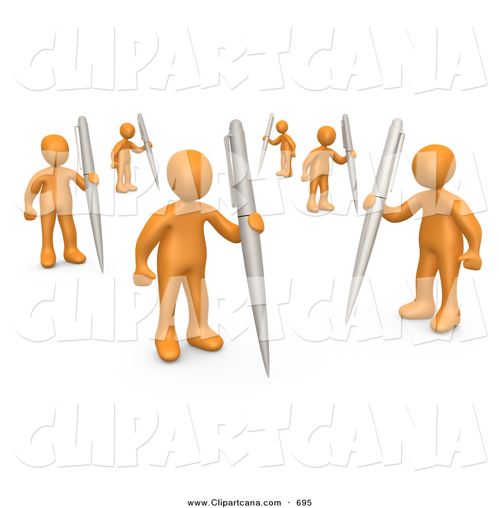 Writer Clipart Clip Art Of A Team Of Orange