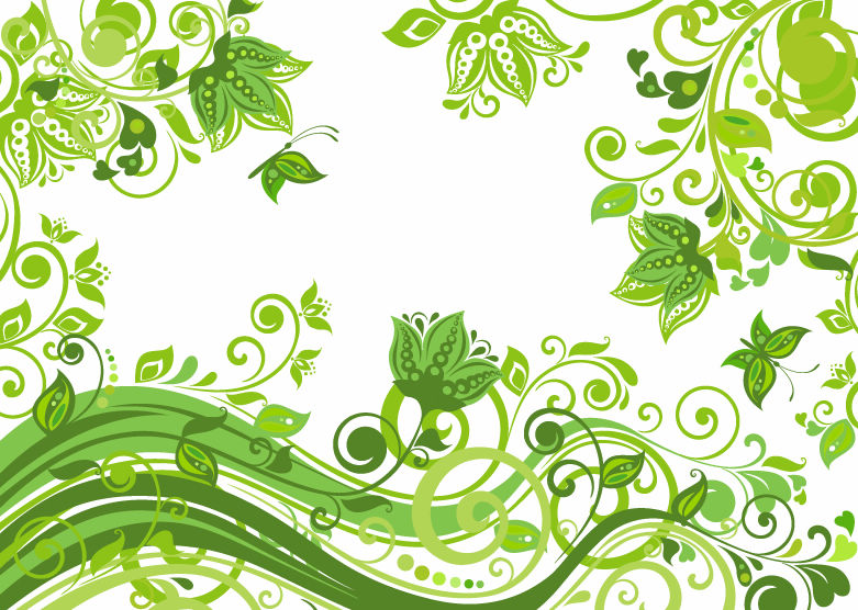 Abstract Floral Green Background Vector Illustration   Web Design