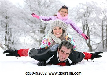 Clip Art   Family Playing In The Snow  Stock Illustration Gg60492682