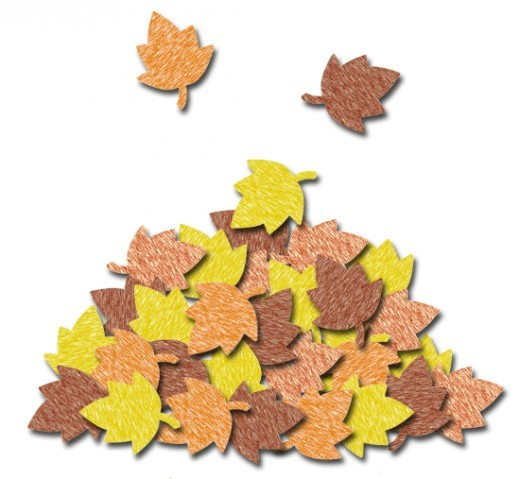 Crayon Colored Pile Of Leaves Clip Art