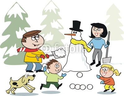 Family Playing In Snow Cartoon Stock Image And Royalty Free Vector