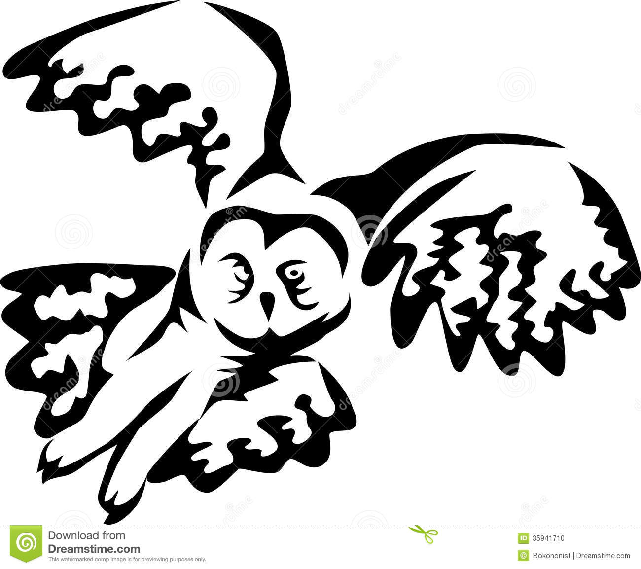 Flying owl drawings black and white - photo#28