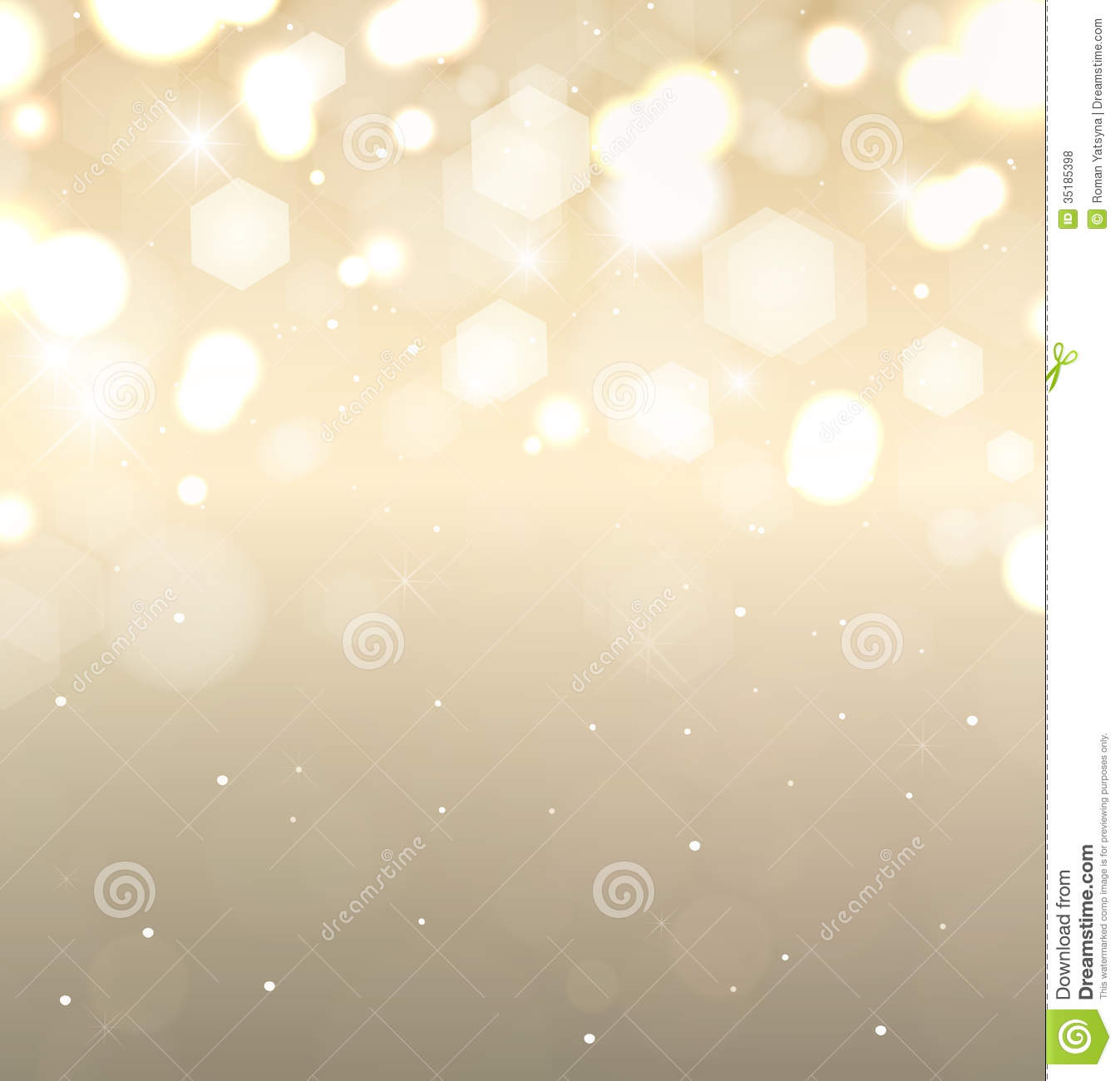 Golden Holiday Background  Flickering Lights With Royalty Free Stock