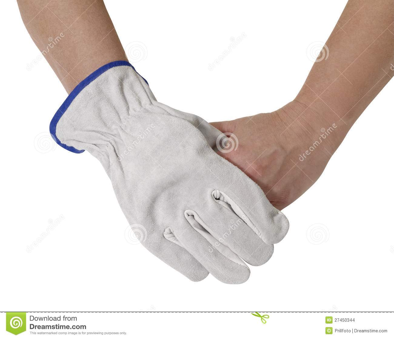 Hands Holding Each Other One Gloved With A Light Grey Working Glove