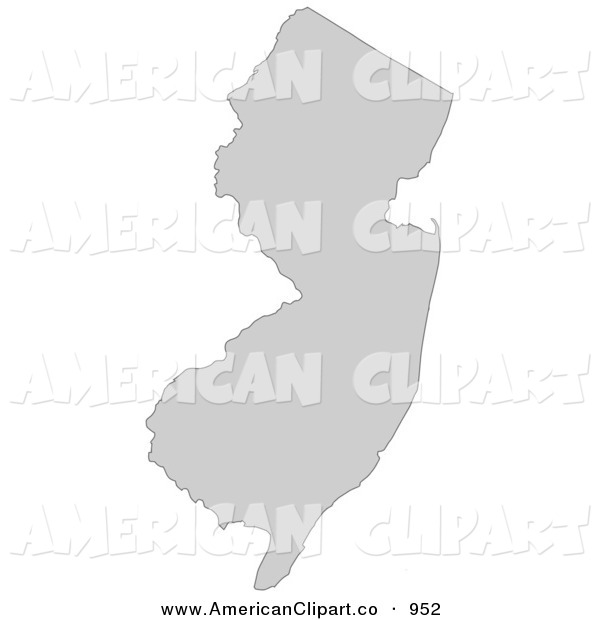 Illustration Of A Gray State Silhouette Of New Jersey United