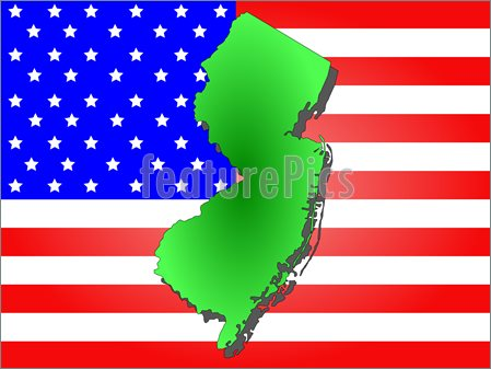 Illustration Of Map Of The State Of New Jersey And American Flag