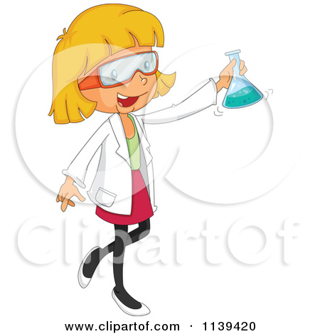 Scientist Girl Holding A Flask   Royalty Free Vector Clipart By