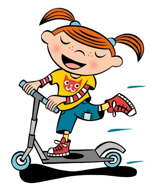 Image result for kid on scooter clipart