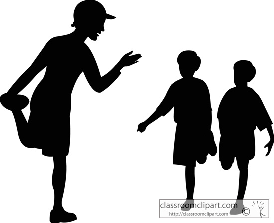Silhouette Physical Education Teacher Students   Classroom Clipart