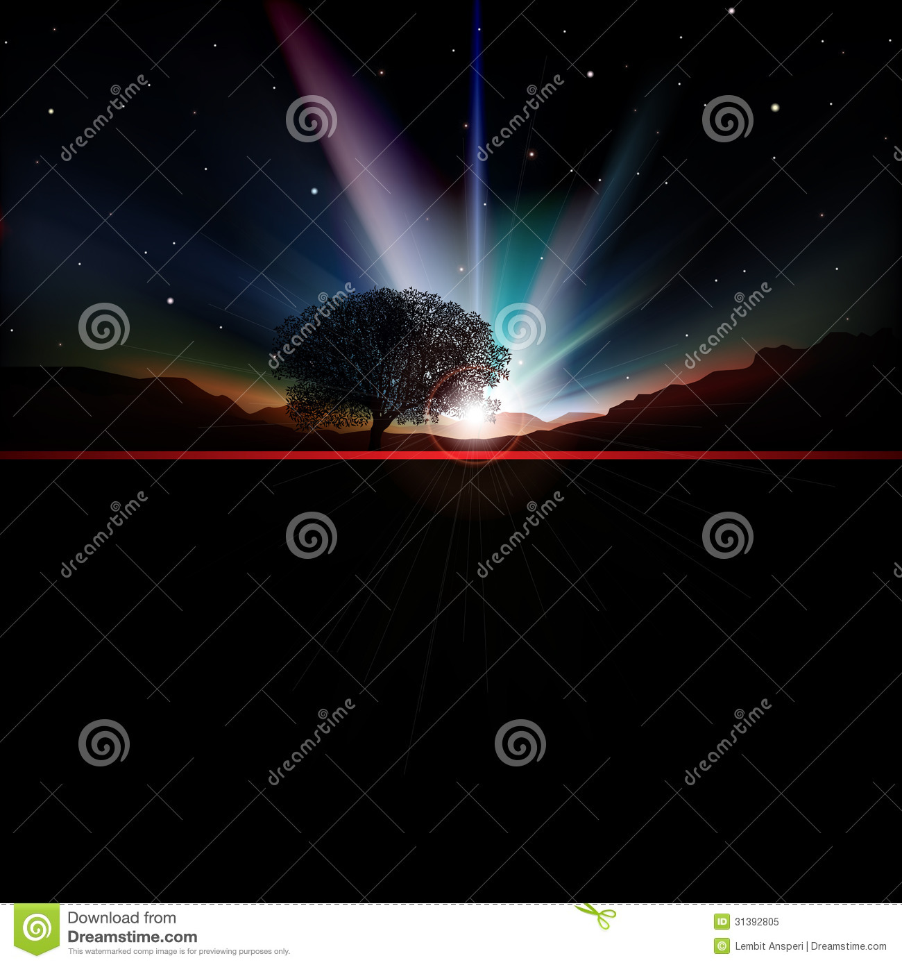 Abstract Background With Sunrise And Mountains Royalty Free Stock
