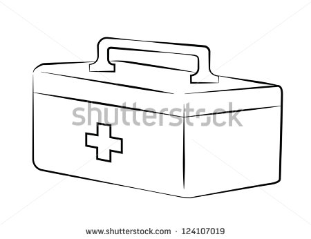Band Aid Clipart Black And White First Aid Kit Black Lines On ...