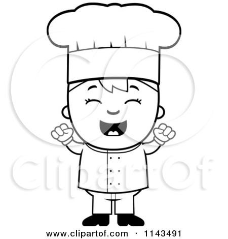 Cartoon Clipart Of A Black And White Celebrating Chef Boy   Vector