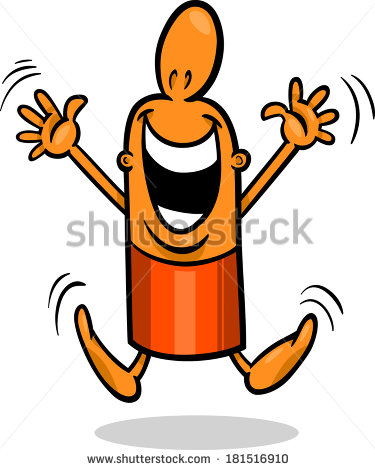 Cartoon Illustration Of Happy Or Excited Funny Guy Character   Stock
