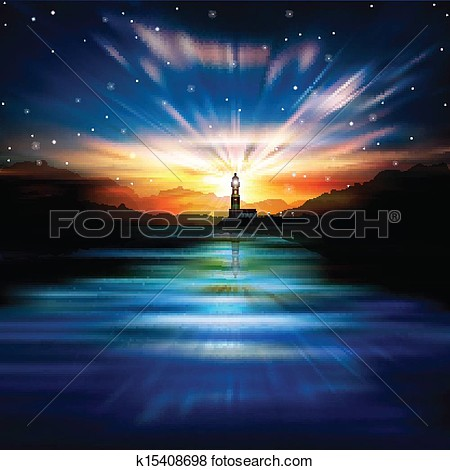 Clip Art   Abstract Background With Lighthouse  Fotosearch   Search