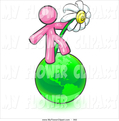 Clip Art Of A Pink Man Standing On The Green Planet Earth And Holding