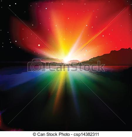 Clip Art Of Abstract Background With Sunrise And Mountains   Abstract