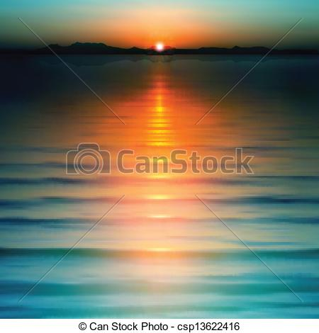 Clip Art Of Abstract Background With Sunset And Mountains   Abstract