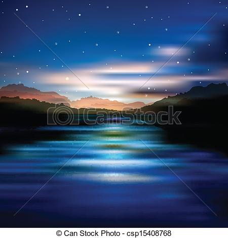 Clip Art Vector Of Abstract Background With Sunrise And Mountains