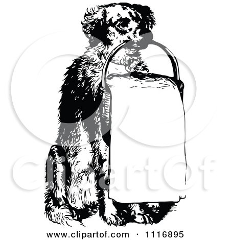 Clipart Of A Retro Vintage Black And White Basket   Royalty Free