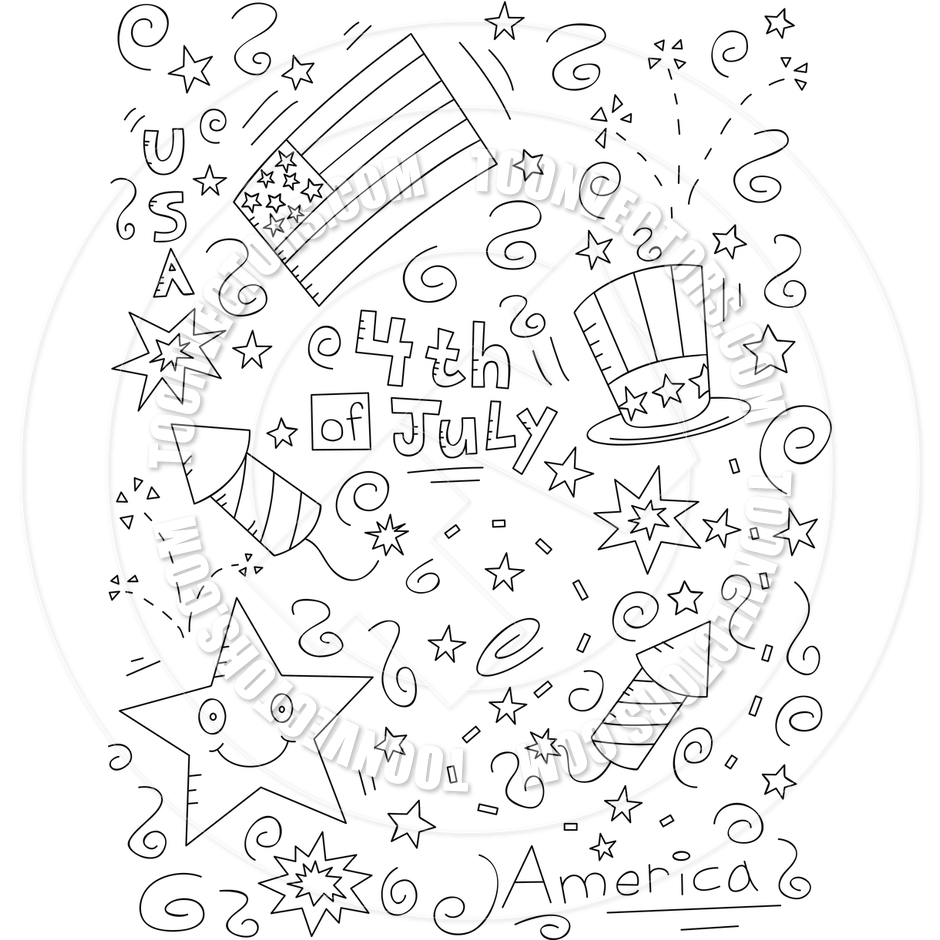 Fourth Of July Clip Art Black And White 4th Of July Doodle  Black And