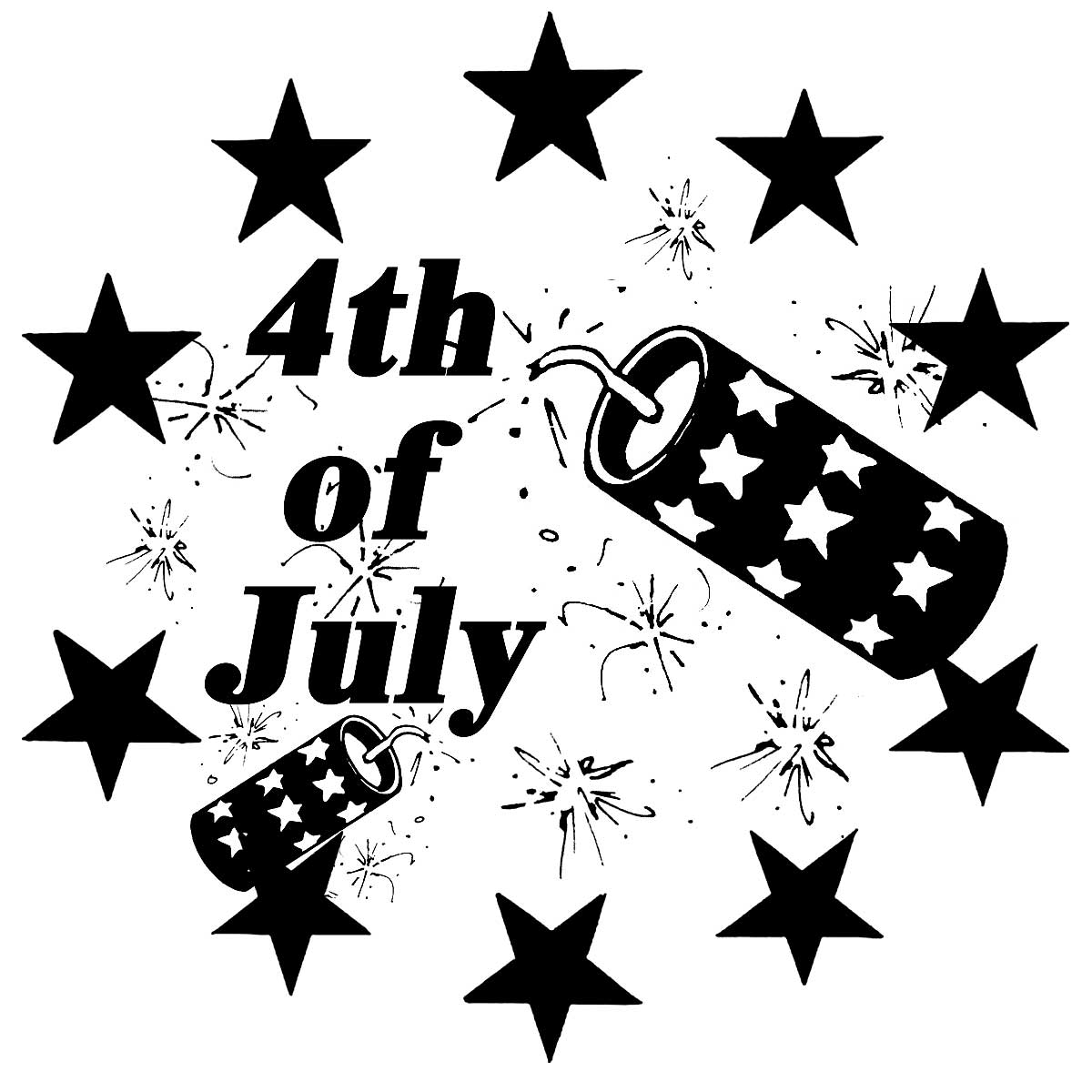 4th Of July Black And White Clipart - Clipart Kid