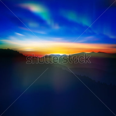 Nature   Abstract Nature Background With Mountains And Aurora Borealis