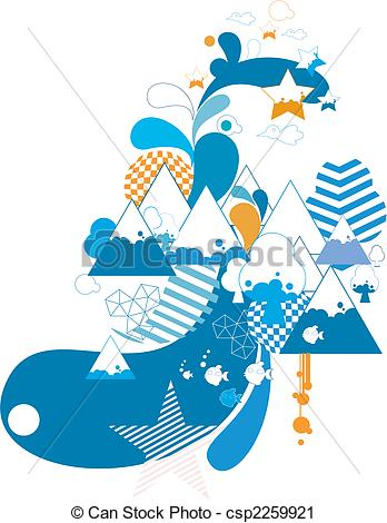 Vector Clip Art Of Abstract Mountain Pattern Design Background