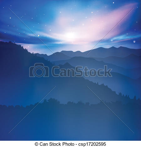 Vectors Of Abstract Background With Mountains And Sunrise   Abstract