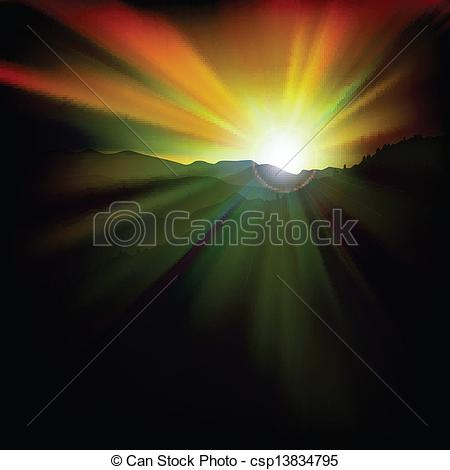Vectors Of Abstract Background With Sunset And Mountains   Abstract