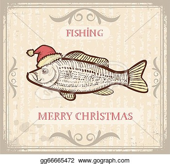 Vintage Christmas Image Of Fishing With Fish In Santa Hat Vector