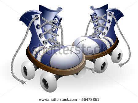 80s Roller Skates Clipart Blue Roller Skates With Untied