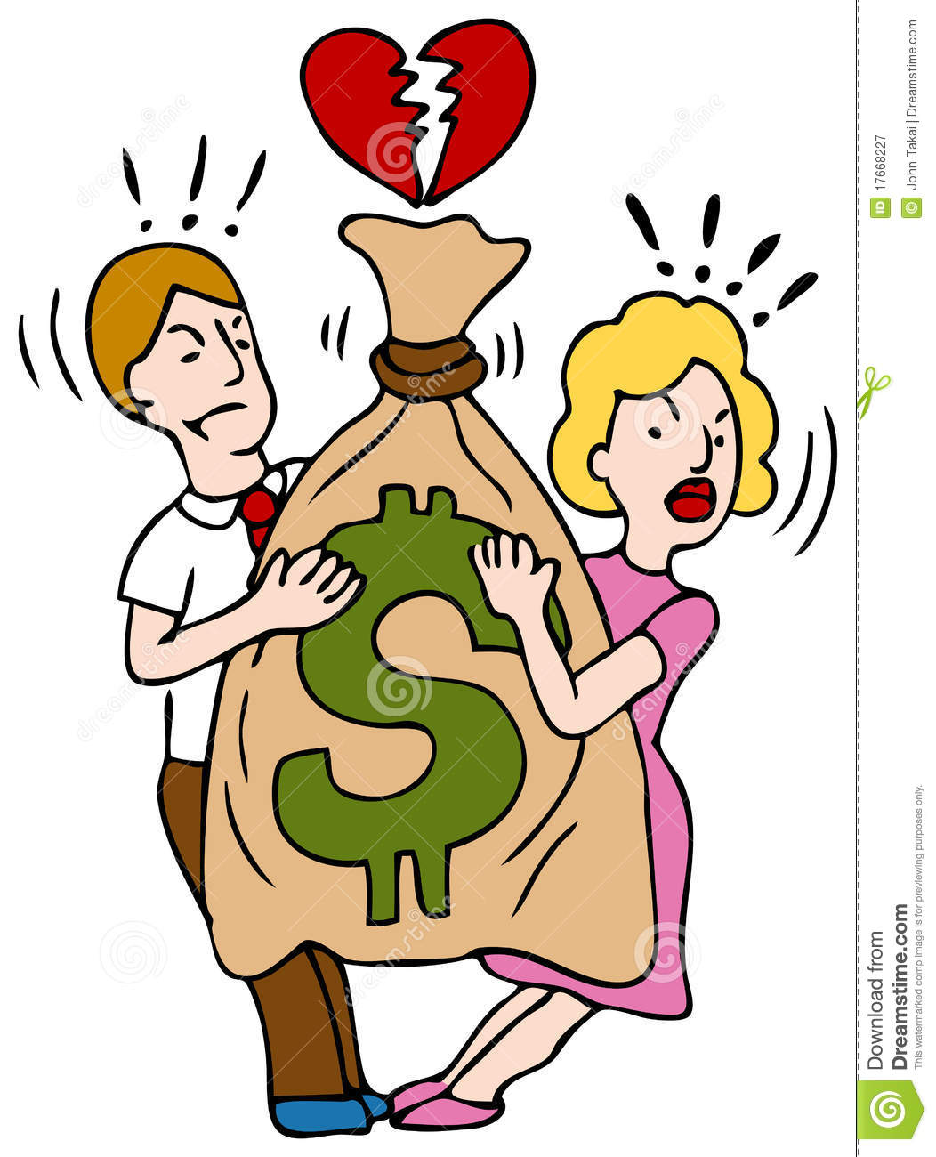 An Image Of A Couple Fighting Over A Bag Of Money