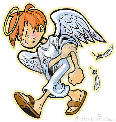 Cartoon Clip Art Of A Scrappy Angel With Red Hair Headed For A Fight