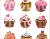 Clip Art Cupcake Bakery 9 Cupcakes  Instant Download Clip Art