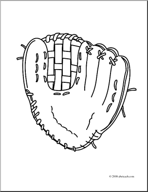 Clip Art  Realistic Baseball Glove  Coloring Page    Preview 1
