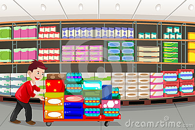 Grocery Store Aisle Clipart Man Shopping Vector