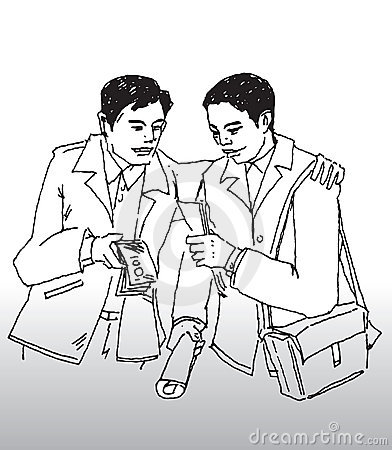 Hand Drawn Illustration Of A Business Man Trying To Bribe Another Man