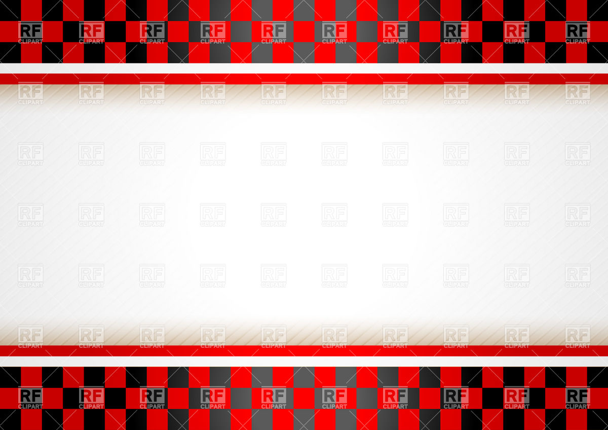 Horizontal Racing Banner With Checkered Red Heading Borders And