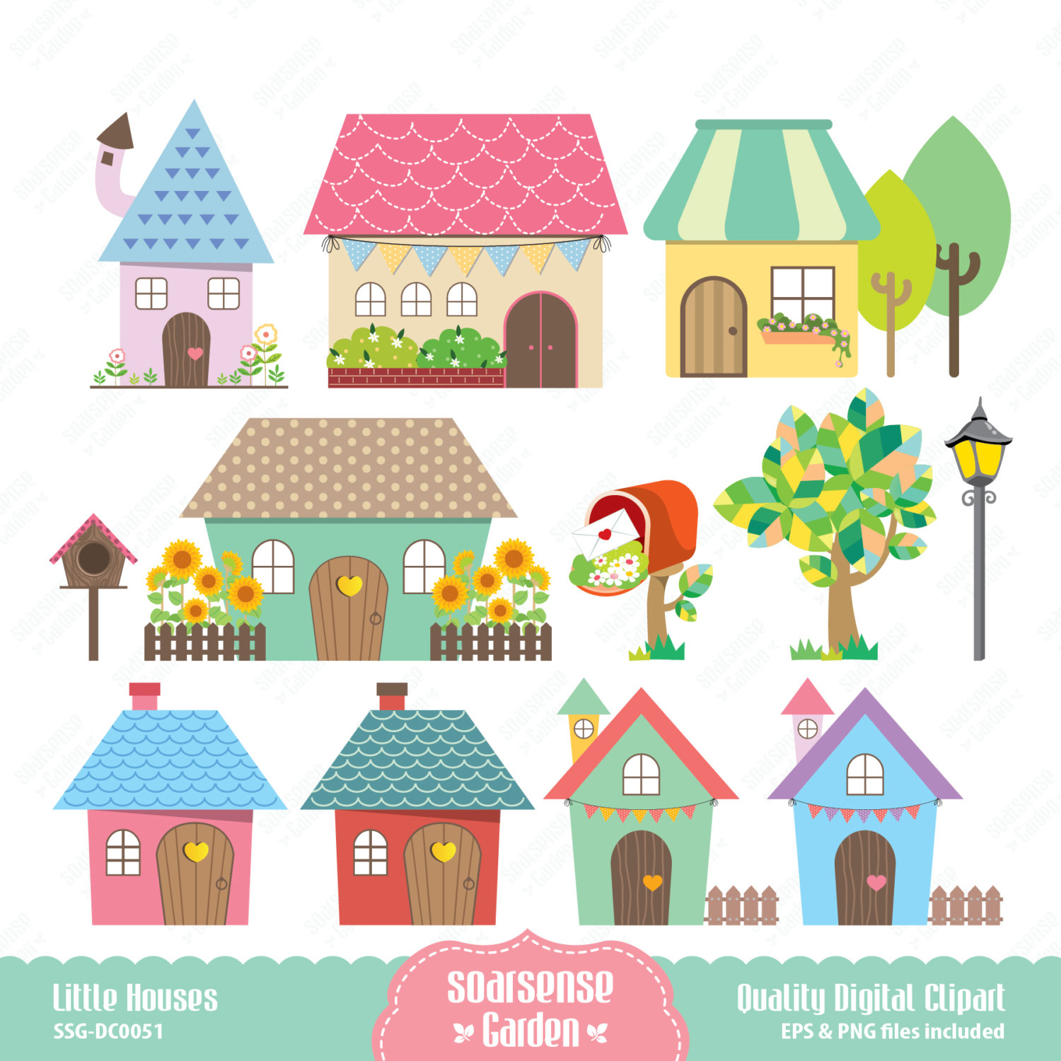 Little Houses Digital Clipart Home Clip Art February 08 2014 At 12