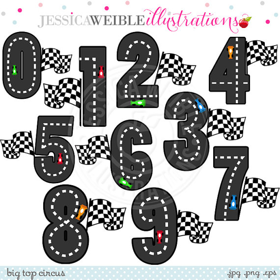 Race Track Numbers Cute Digital Clipart   Commercial Use Ok   Racing